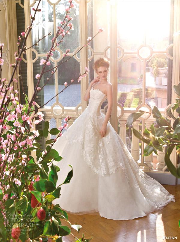 a671e0dba33 jillian sposa bridal 2015 strapless lace ball gown wedding dress