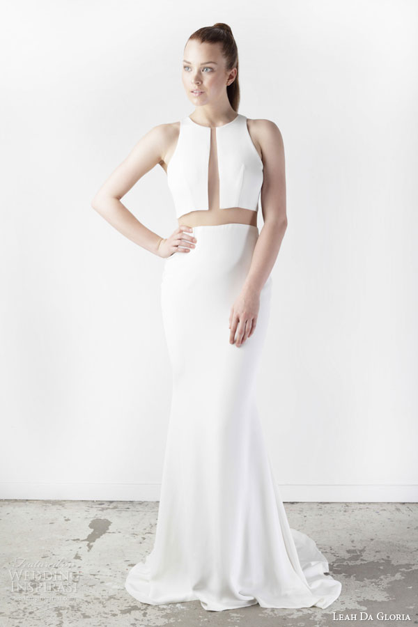 Leah Da Gloria Bridal Spring 2017 Astrid Sleeveless Wedding Dress Sheer Cutout Effect High Neck
