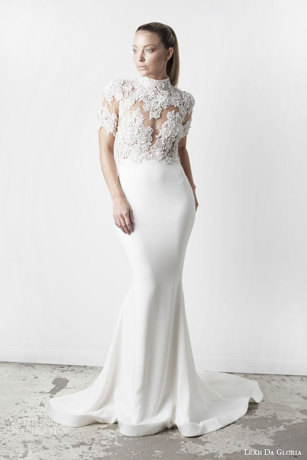 leah da gloria bridal spring 2015 elsa half sleeve illusion bodice high neckline wedding dress