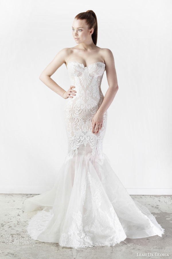 leah da gloria bridal spring 2015 fleur strapless sweetheart lace mermaid wedding dress
