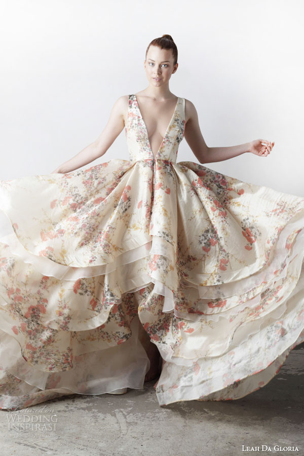 leah da gloria bridal spring 2015 Kym sleeveless floral printed wedding dress deep v neckline
