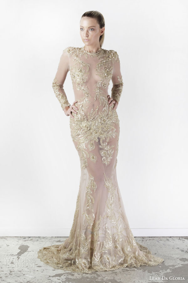 leah da gloria bridal spring 2015 selene illusion long sleeve high neckline sheer nude gold wedding dress
