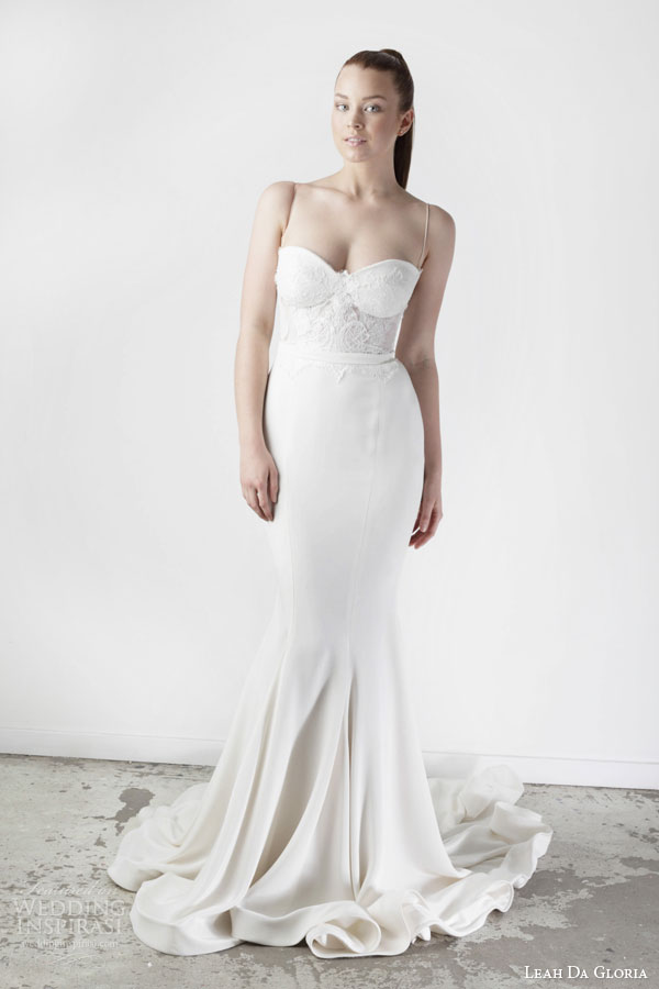 leah da gloria bridal spring 2015 wedding dress spaghetti straps mermaid gored skirt
