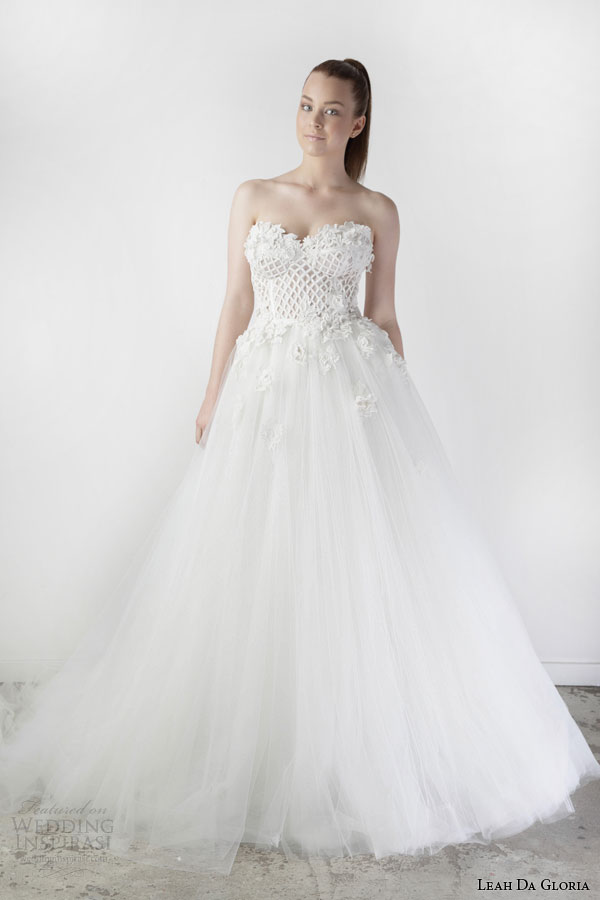 leah da gloria spring 2015 adelaide strapless ball gown wedding dress sweetheart neckline