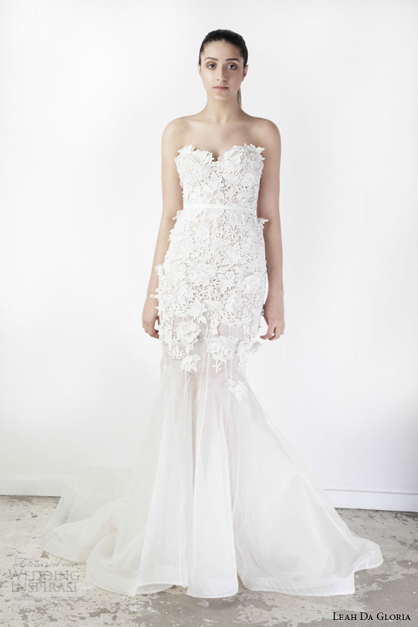 leah da gloria spring 2015 claudia strapless mermaid wedding dress lace appliques