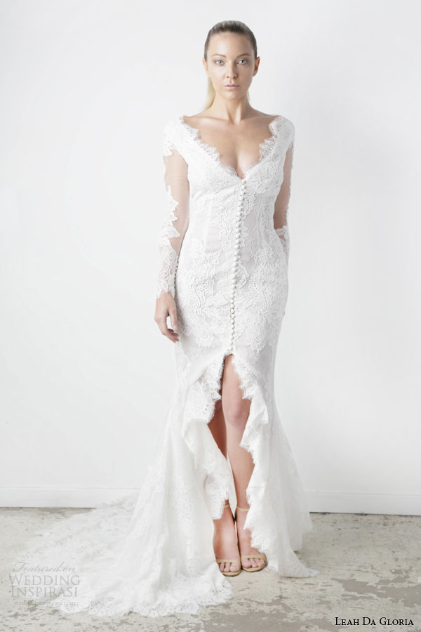 leah da gloria spring 2015 isabella illusion long sleeve wedding dress slit v neck