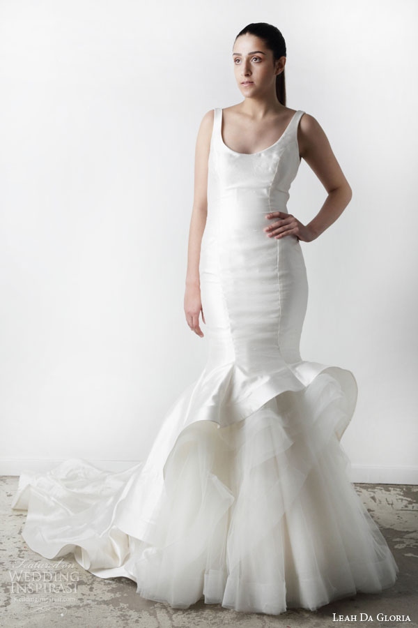 leah da gloria spring 2015 karolina sleeveless mermaid wedding dress scoop neckline