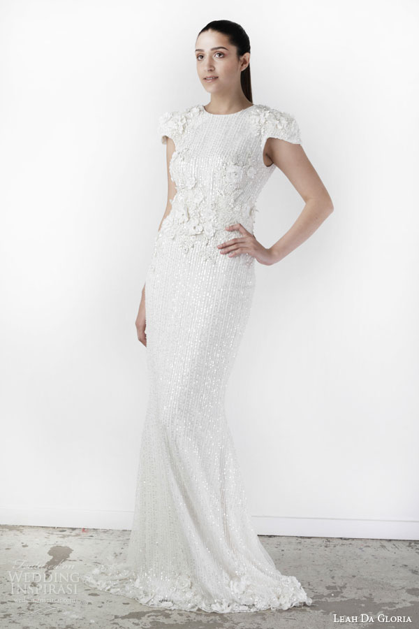 leah da gloria spring 2015 monaco cap sleeve sheath wedding dress