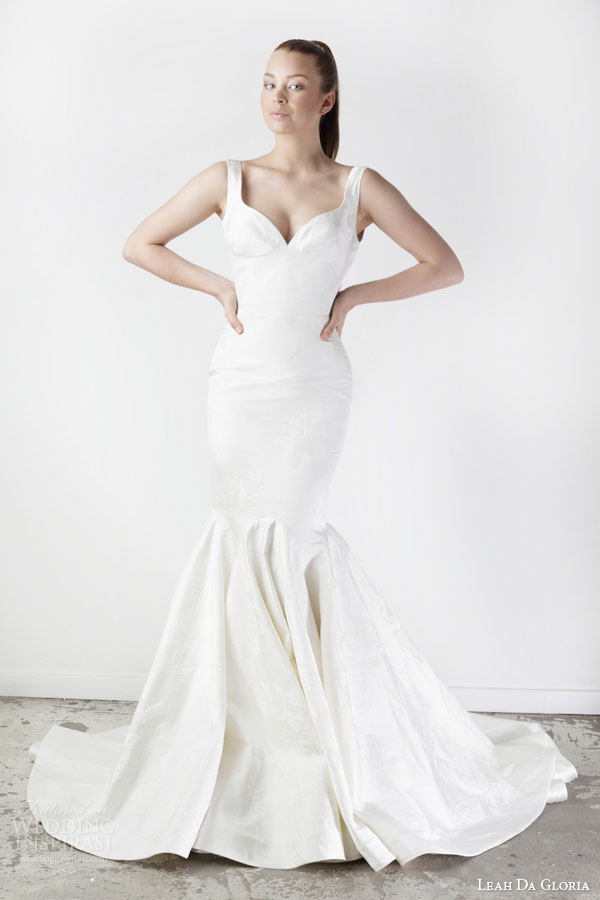 leah da gloria spring 2015 sophia sleeveless mermaid wedding dress thick straps