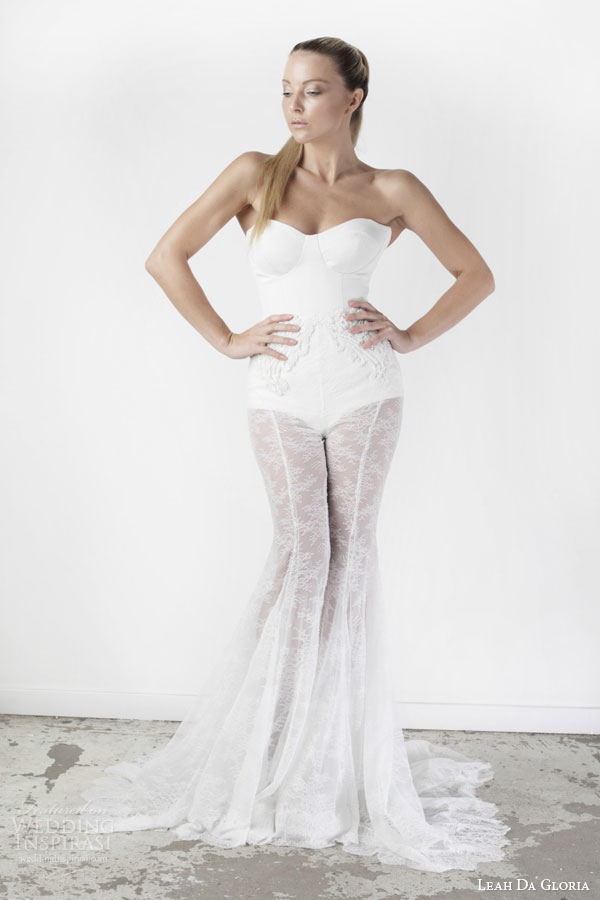 leah da gloria wedding dresses spring 2015 bridgitte strapless body suit cassidy sheer lace flare pants