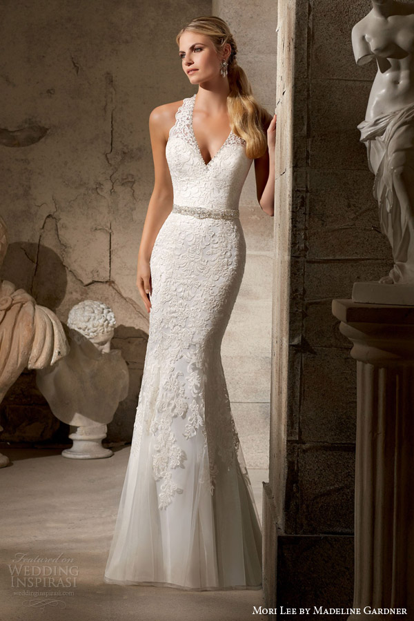 mori lee bridal fall 2015 halter v neck scalloped strap mermaid wedding dress embroidered appliques style 2712