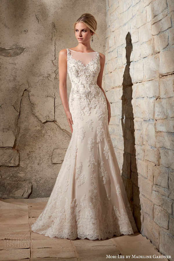 mori lee bridal fall 2015 sleeveless illusion neckline mermaid wedding dress style 2709 crystal bead embroidery alencon lace appliques