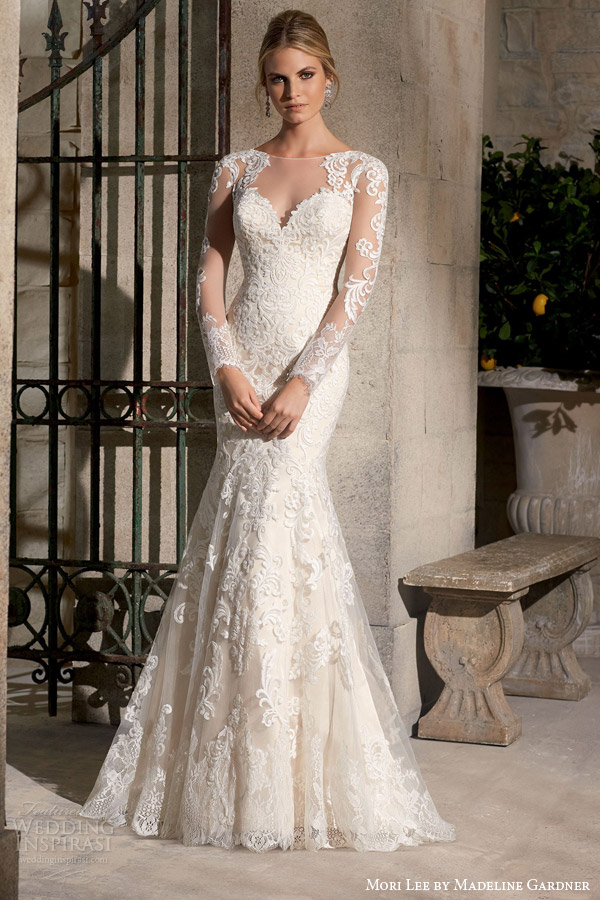 mori lee by madeline gardner bridal fall 2015 long sleeve fit flare mermaid sheath wedding dress style 2725