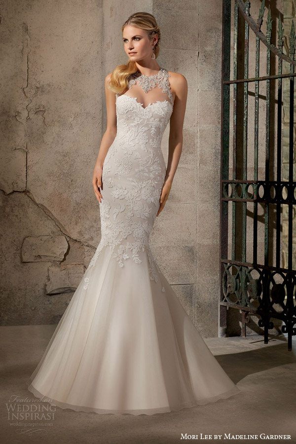 mori lee by madeline gardner bridal fall 2015 sleeveless mermaid wedding dress crystal beaded neckline embroidered appliques style 2723