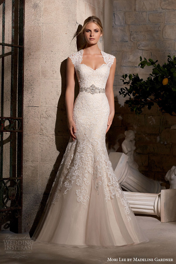 mori lee by madeline gardner fall 2015 embroidered trumpet mermaid sheath queen anne neckline diamante beading style 2719