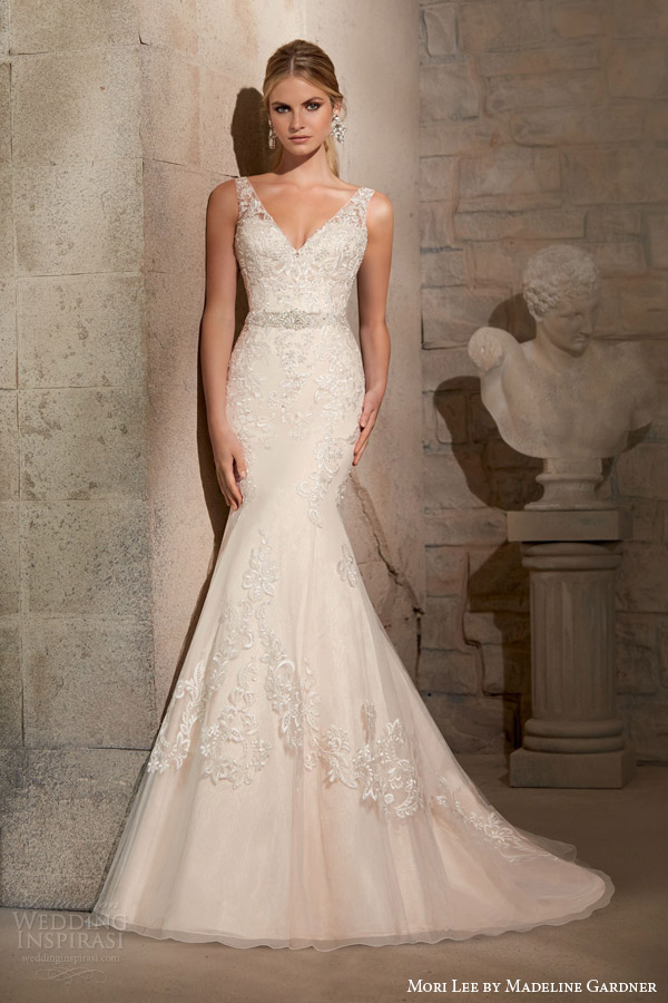 mori lee by madeline gardner fall 2015 sleeveless v neck mermaid wedding dress embroidered appliques crystal beading style 2715