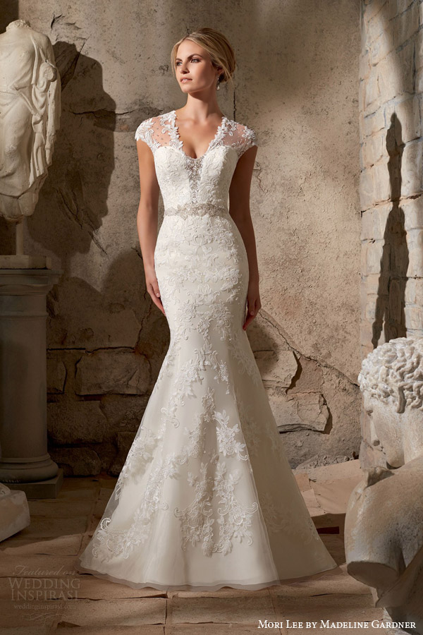 mori lee fall 2015 bridal illusion cap sleeve mermaid wedding dress style 2706 venice lace appliques diamante beading