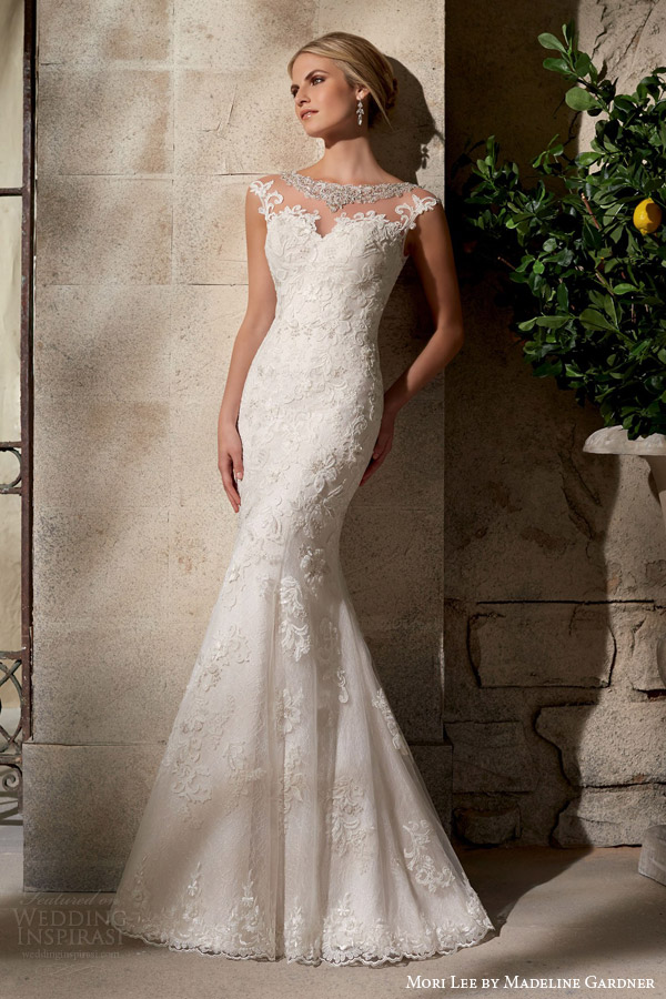 mori lee fall 2015 bridal illusion cap sleeve wedding dress embroidered appliques style 2702