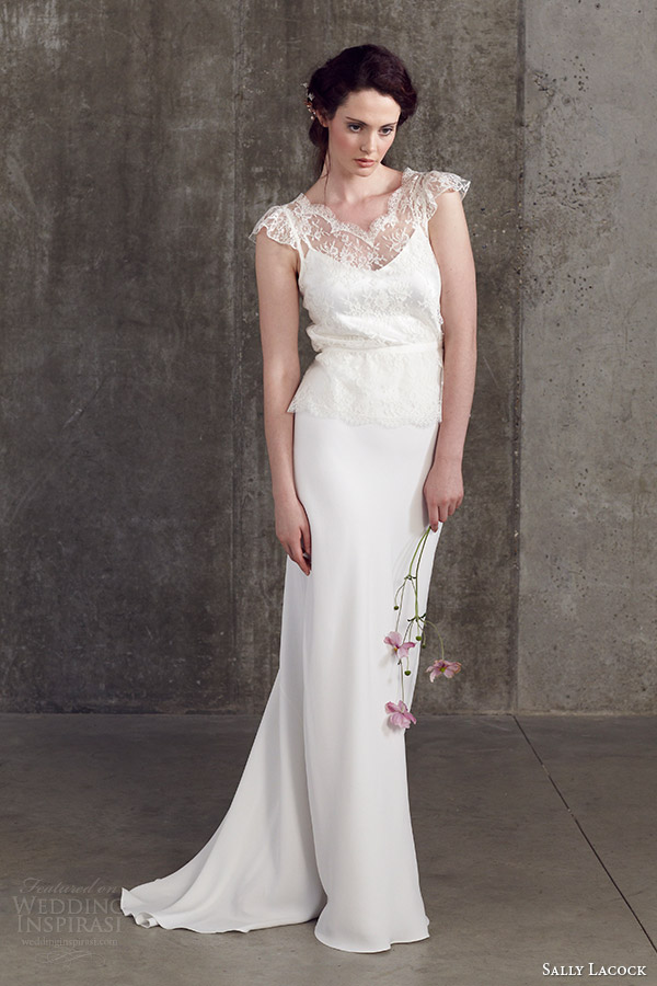 sally lacock 2014 bridal separates angelica lace flutter cap sleeve blouse bay bias cut skirt