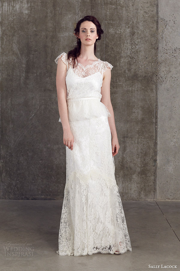 sally lacock 2014 bridal separates collection angelica lace cap fluted sleeve blouse cicely lace skirt front view