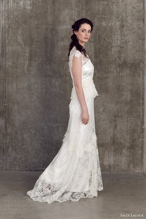sally lacock 2014 bridal separates collection verbena lace cap sleeve blouse cicely lace skirt side side view