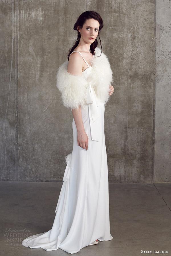 sally lacock bridal separates 2014 mint top cowl neck grosgrain straps bay bias cut skirt faux fur stole cape