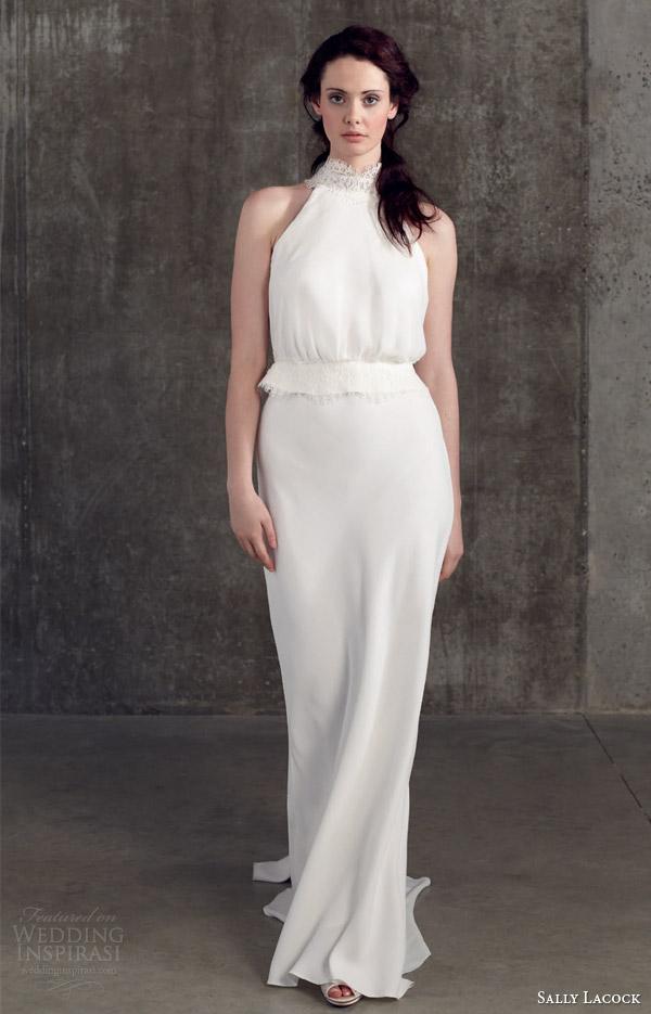 sally lacock wedding dresses 2014 bridal separates collection juniper halter neck top bay bias cut column skirt