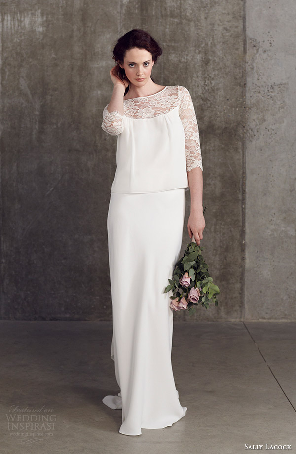 sally lacock wedding dresses 2014 bridal separates stevia three quarter sleeve lace top bay biascut skirt