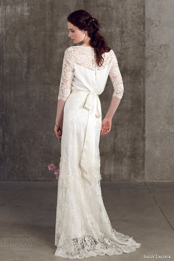 sally lacock wedding dresses 2014 bridal separates stevia three quarter sleeve lace top cicely lace skirt back view