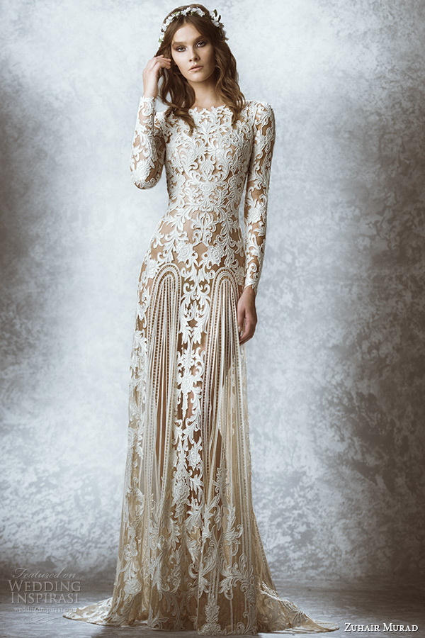 zuhair murad bridal fall 2015 wedding dress bateau neckline long sleeves leaf floral embroidered illusion sheath gown style mauriane