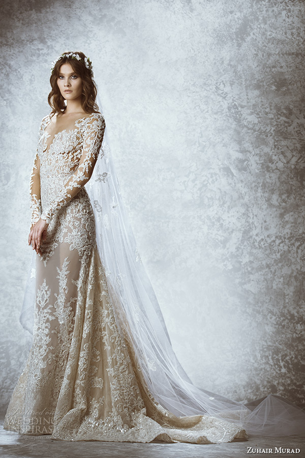 zuhair murad bridal fall 2015 wedding dress illusion lace long sleeves plunging neckline flora embroidery a line gown style malie