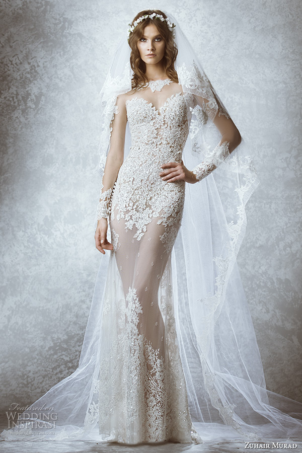 Zuhair murad bridal fall 2015 wedding dresses wedding inspirasi zuhair murad bridal fall 2015 wedding dress illusion long sleeves sheer high neck sweetheart neckline leaft junglespirit Choice Image