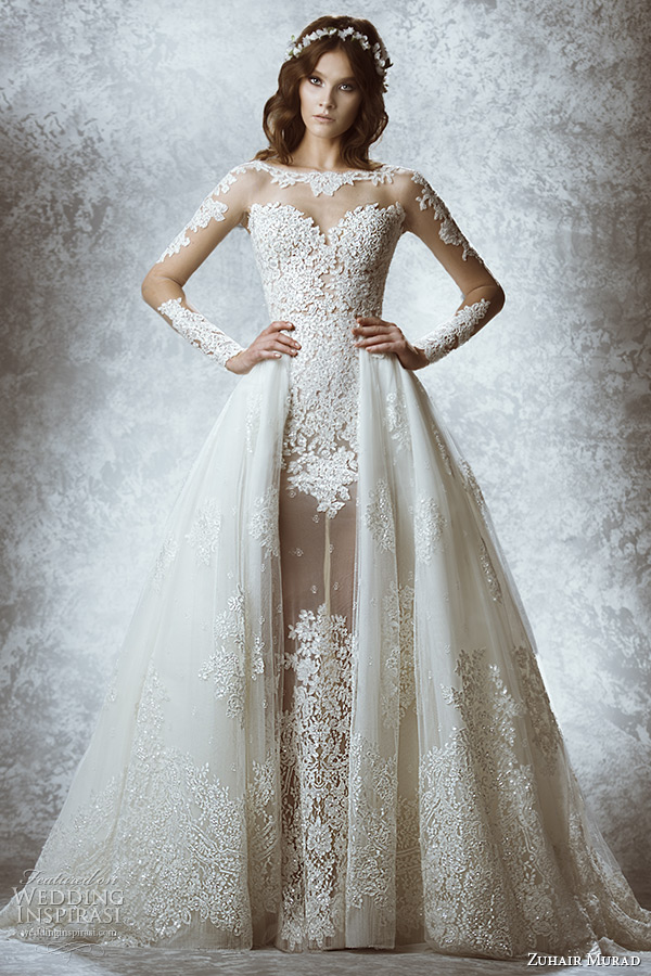 zuhair murad bridal fall 2015 wedding dress illusion long sleeves sheer high neck sweetheart neckline leaft flora lace embroidery sheath gown with overskirt style mia