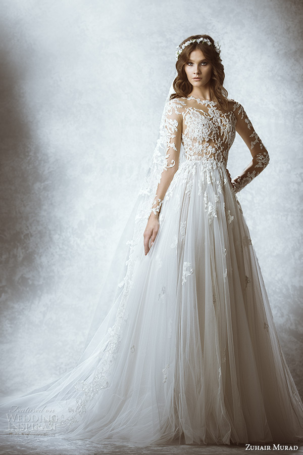 zuhair murad bridal fall 2015 wedding dress long sleeve sheer lace floral embroidered bodice a line gown style marine