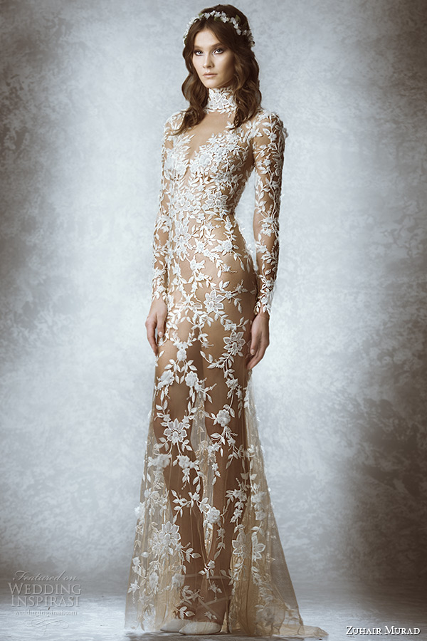 zuhair murad bridal fall 2015 wedding dress turtle neck long sleeves leaf floral embroidery illusion sheath gown style melissa