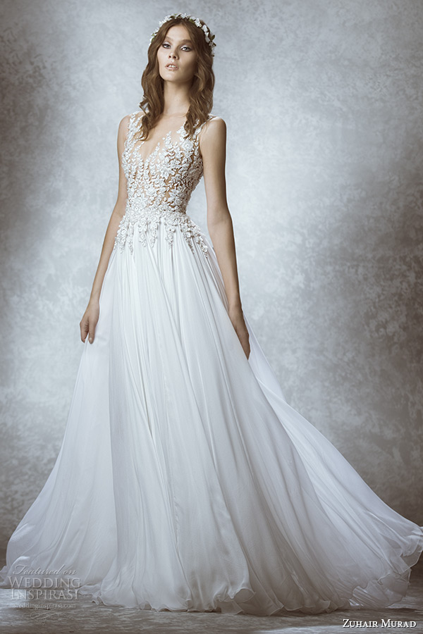 zuhair murad bridal fall 2015 wedding dress v neck neckline sleeveless leaf embroidery sheer bodice a line gown style manon