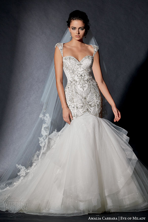 Amalia Carrara Eve Of Milady 2015 Wedding Dress Style 334 Cap Sleeve Mermaid Gown Intricate Embellished
