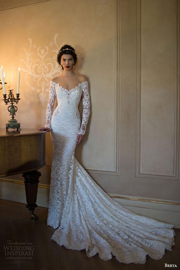 berta 2015 off shoulder illusion long sleeve trumpet sheath lace wedding dress