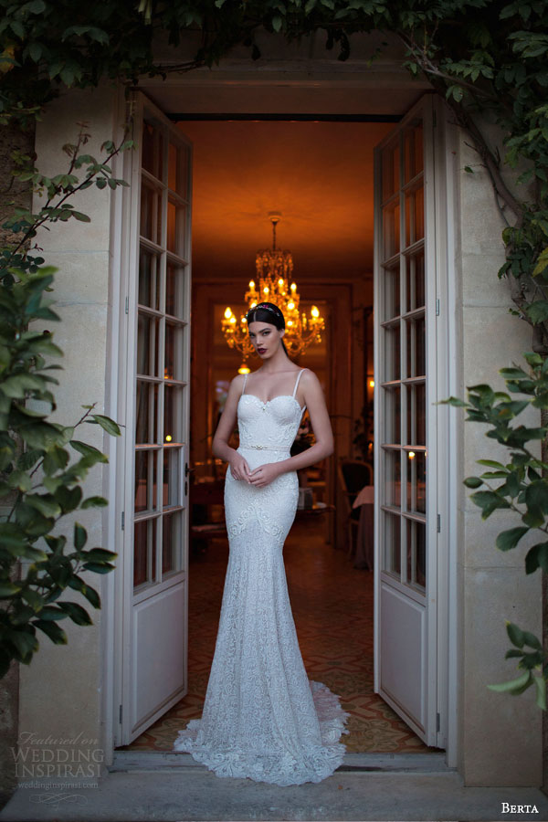 berta 2015 sleeveless lace sheath wedding dress thin straps sweetheart bodice