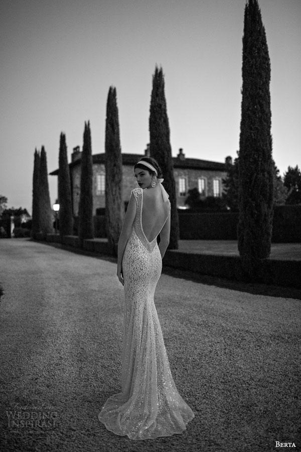 berta 2015 stunning wedding dress lace sheath silhouette low back view