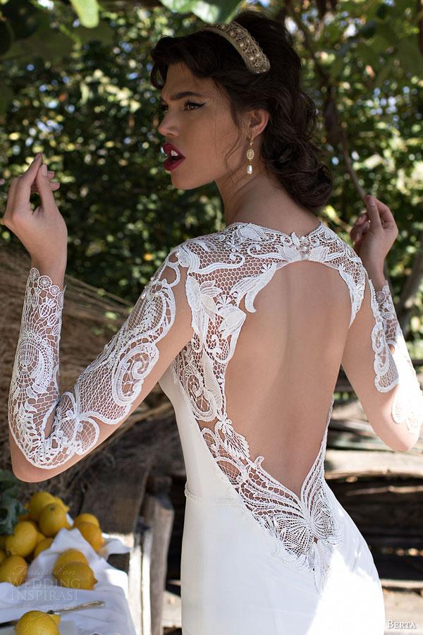 berta bridal 2015 beautiful illusion long sleeve wedding dress guipure lace bodice high neck close up back view