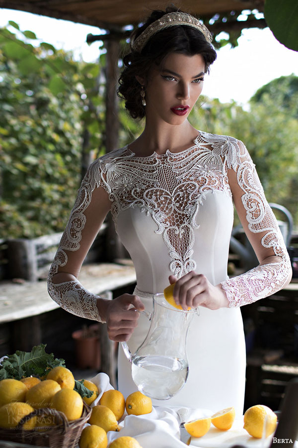 berta bridal 2015 beautiful illusion long sleeve wedding dress guipure lace bodice high neck close up