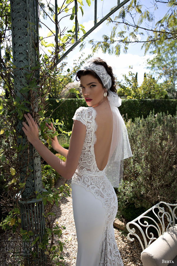berta bridal 2015 beautiful lace cap sleeve wedding dress deep v neckline back view close up