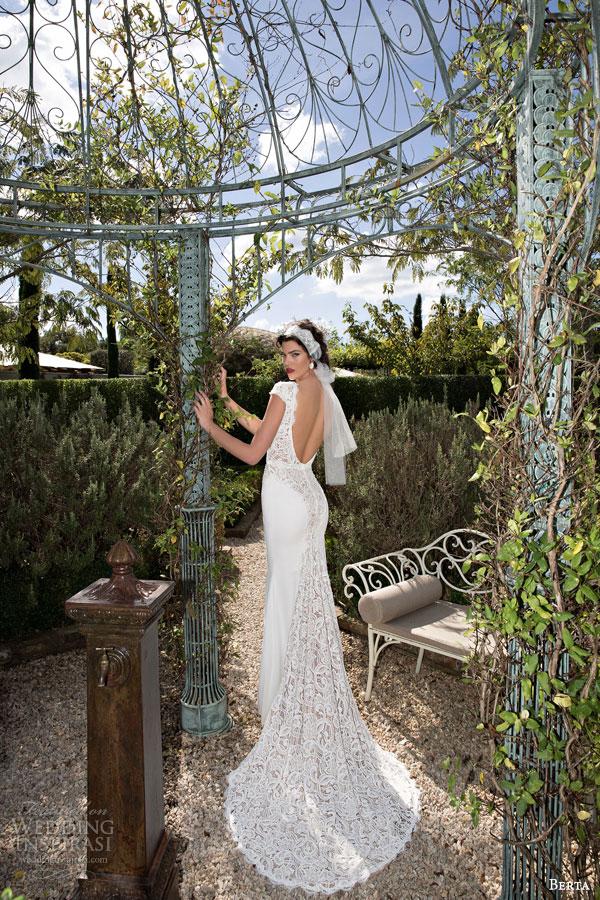 berta bridal 2015 beautiful lace cap sleeve wedding dress deep v neckline back view