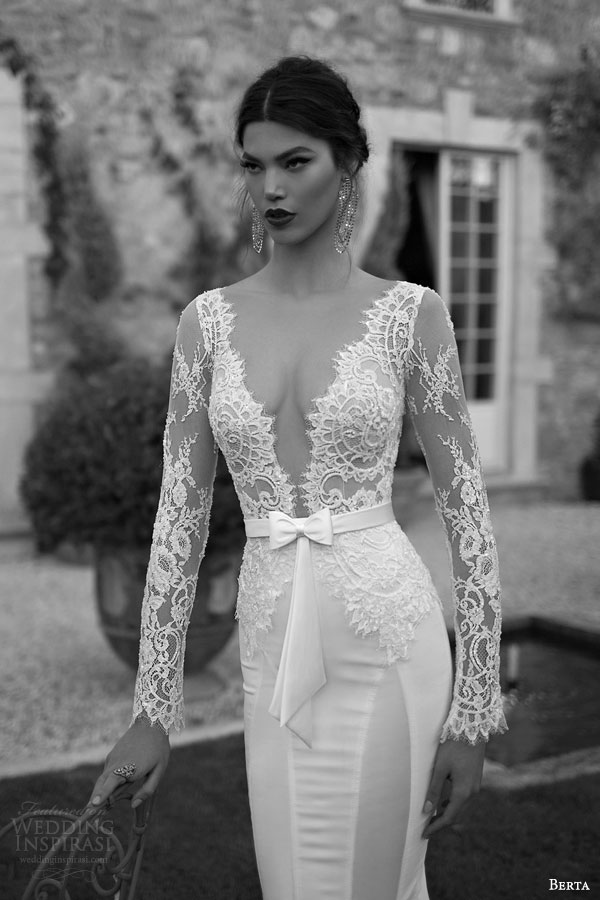 berta bridal 2015 deep v neck illusion bodice long sleeve lace sheath wedding dress