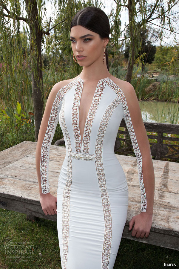 berta bridal 2015 deep v neck illusion high neckline bodice long sleeve geometric lace sheath wedding dress