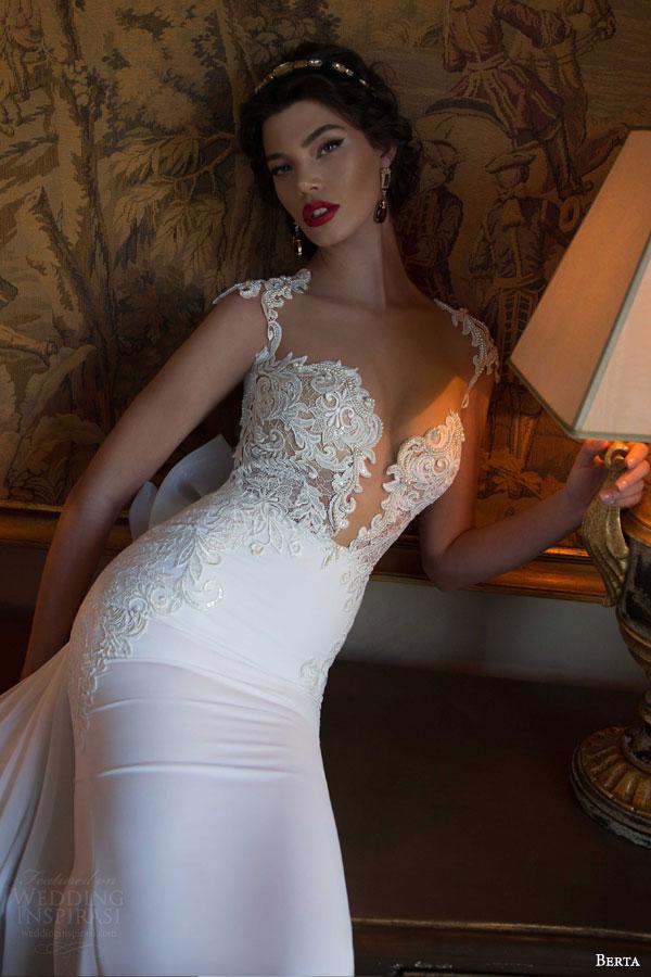 berta bridal 2015 elegant sheath wedding dress deep v neckline exquisite bodice close up
