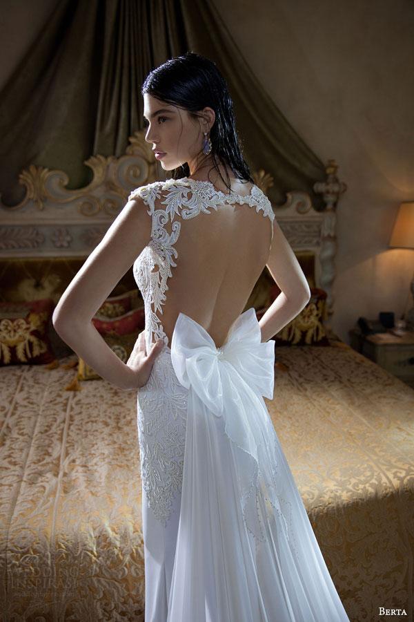 berta bridal 2015 elegant sheath wedding dress deep v neckline exquisite bodice detail back view