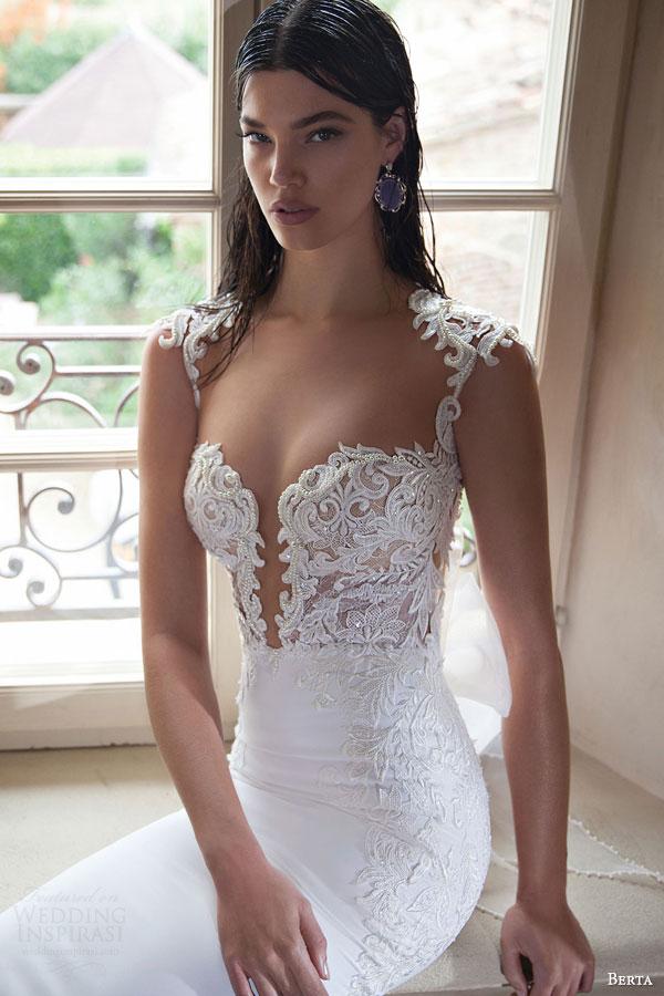 berta bridal 2015 elegant sheath wedding dress deep v neckline exquisite bodice detail close up