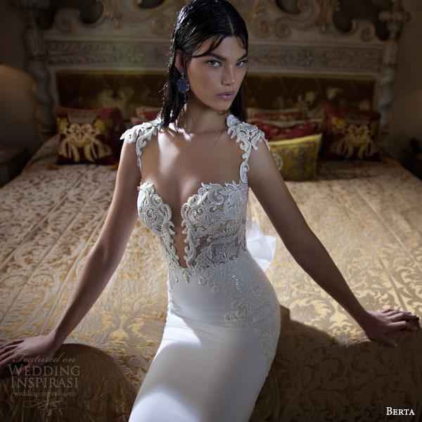 berta bridal 2015 elegant sheath wedding dress deep v neckline exquisite bodice detail